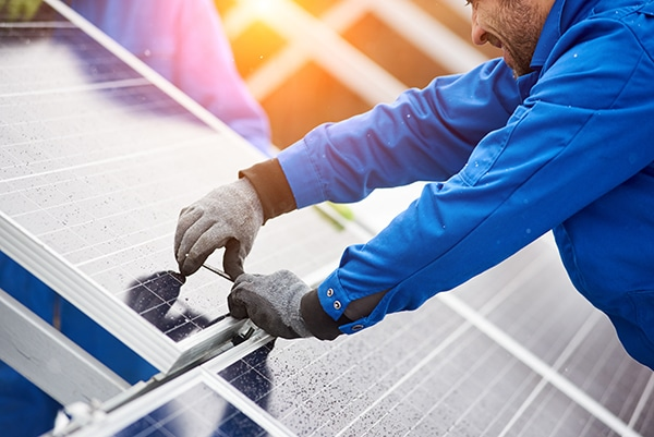 installing photovoltaic blue solar modules