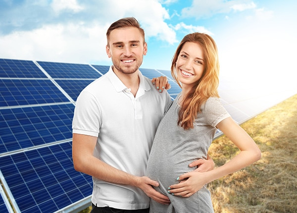 Couple expecting with renewable energy