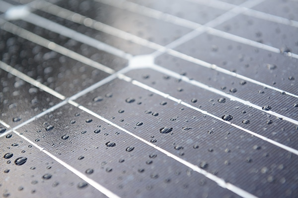 Solar panel with raindrops