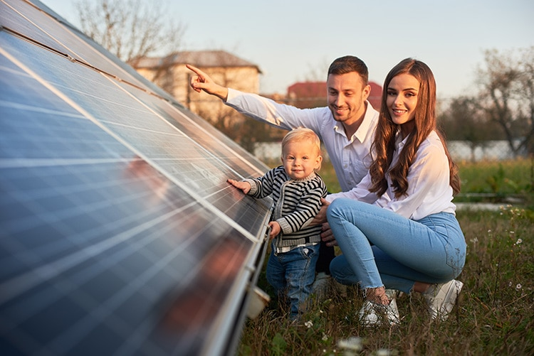 Young family solar panels