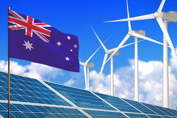 Australia solar and wind energy, renewable energy concept with windmills - renewable energy against global warming