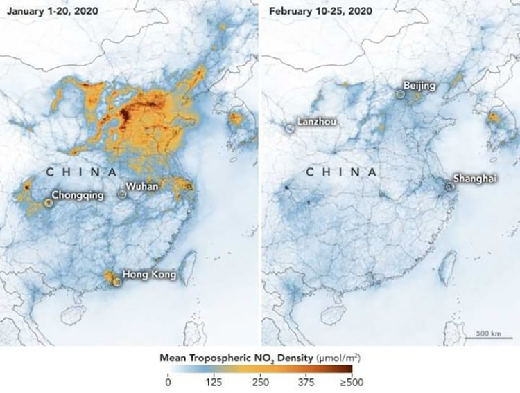 Pollution drop over China